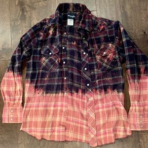 Wrangler Flannel with Bleach Distressing